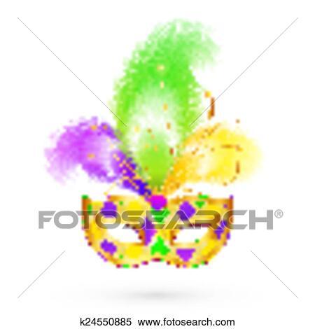 Clipart Fasching Traditionelle Farben Vektor Maske K24550885