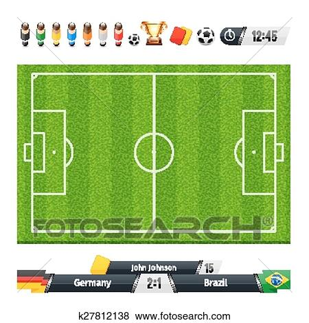 Green Soccer Field with Statistics Elements Clip Art