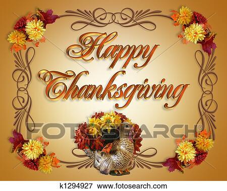 Stock illustration of happy thanksgiving card k1294927 search eps stock illustration happy thanksgiving card fotosearch search eps clipart drawings decorative m4hsunfo