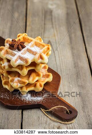 belgian waffles with sugar powder