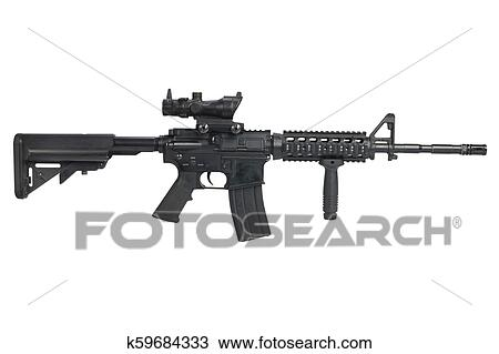 stock photo of m4 carbine with acog optic and a foregrip isolated
