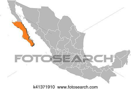 Clipart Of Map Mexico Baja California Sur K41371910 Search Clip