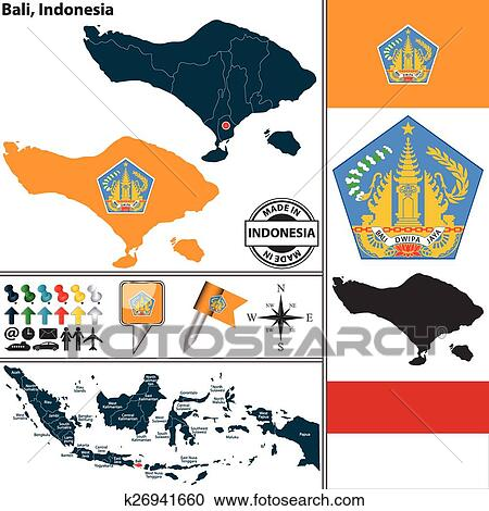 Map Of Bali Indonesia Clipart K26941660 Fotosearch