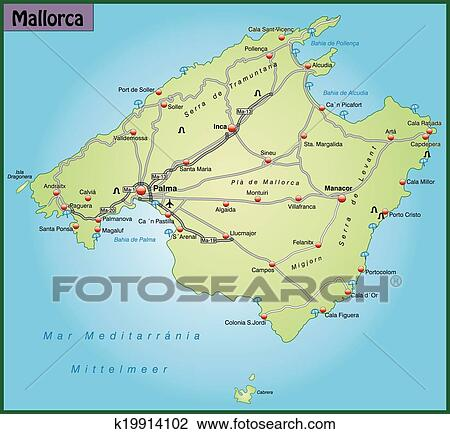 Mapa Carreteras De Mallorca.Mapa De Mallorca Clipart K19914102 Fotosearch