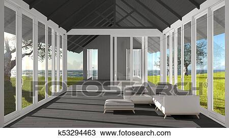 Minimalist, wohnzimmer, mit, groß, windows, glasmalerei, und ...