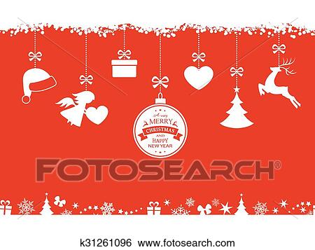 Christmas Top Border.Red Christmas Background With Hanging Ornaments And Border Clip Art