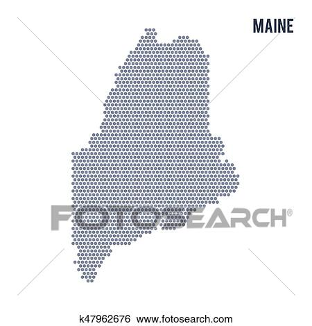 Vector hexagon map of State of Maine on a white background Clip Art