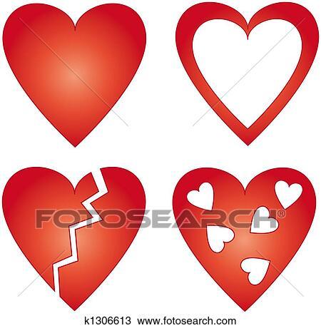 4 Different Rouges Cœurs Dessin K1306613 Fotosearch