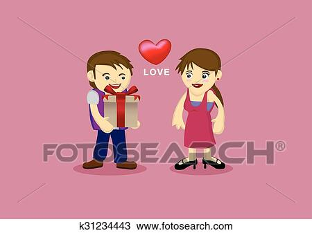 Clipart Of Cute Couple In Romantic Love Relationship Cartoon
