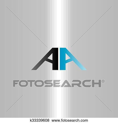 Doppelgänger Brief Vektor Aa Logo Symbol Clip Art K33339608