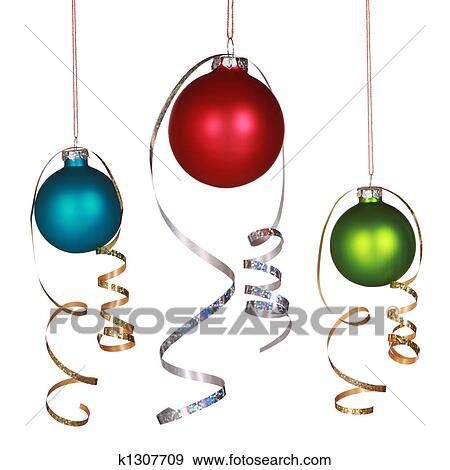 Einzelne Christbaumkugeln.Drei Christbaumkugeln Stock Foto K1307709 Fotosearch