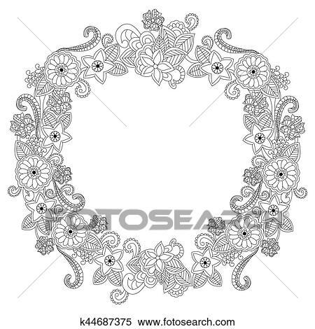 Clipart - flor, marco, oval, libro colorear, vector, ilustración ...