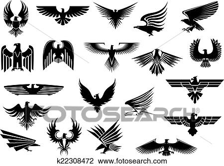 clipart of heraldic eagles falcons and hawks set k22308472 search rh fotosearch com hawks clipart hawk clipart images