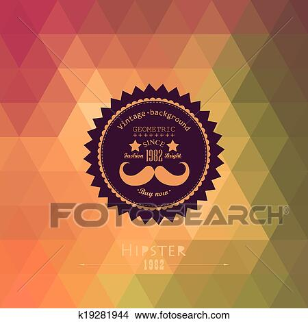 clipart of hipster background made of triangles retro label design