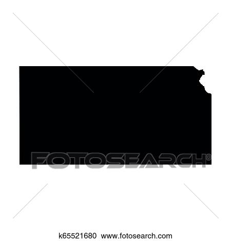 Kansas State Of Usa Solid Black Silhouette Map Of Country