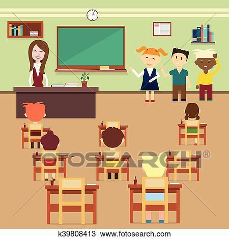 Clipart lezione scuola alunni e insegnante classe for Scuola clipart