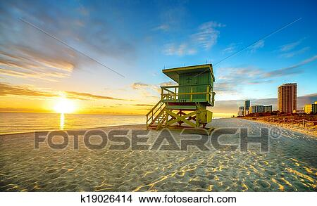 Stock Photo Miami South Beach Sunrise Fotosearch Search Images Mural Photographs