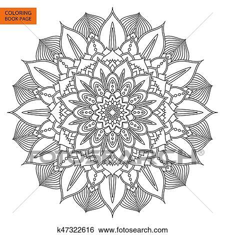 Colección de imágenes - negro, mandala, flor, para, libro colorear ...