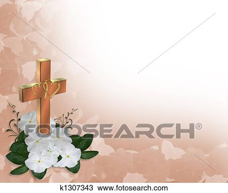Drawing of wedding invitation christian cross k1307343 search image and illustration composition for wedding easter invitation background border with copy space stopboris Images