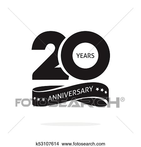 20 Years Anniversary Logo Template Isolated Black And White Stamp 20th Anniversary Icon Label With Ribbon Twenty Year Birthday Seal Symbol Clipart K53107614 Fotosearch