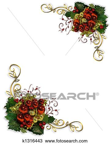 drawing of christmas corners design element k1316443 search rh fotosearch com Christmas Corner Clip Art Transparent Christmas Corners Clip Art Black White