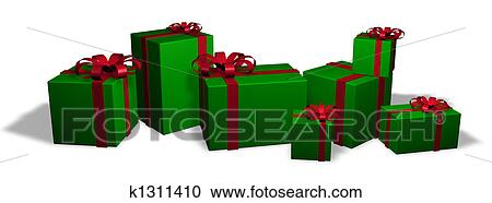 seven wrapped christmas packages in red and green - Christmas Packages