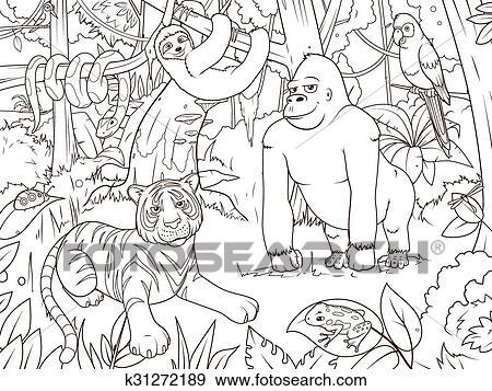 Dschungel, tiere, karikatur, ausmalbilder, vektor Clip Art ...
