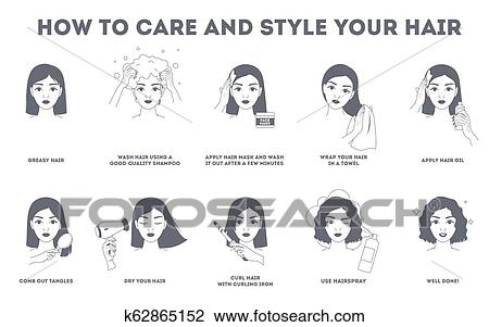How To Care For Your Hair Instruction Clipart K62865152 Fotosearch