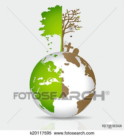 Clipart   Save The World, Tree On A Deforested Globe And Green Globe. Vector