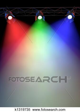 A Stage Light Rack With 3 RGB Colored Spotlights Shining Down Towards The Middle Of Layout In Dark Area