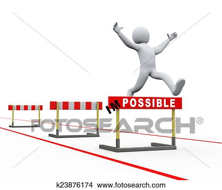 3d Illustration Of Person Jumping Over Track Hurdle Obstacle Concept Achieving Target And Making Impossible Possible Rendering People