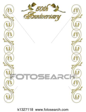 stock illustration of 50th anniversary invitation border k1327118