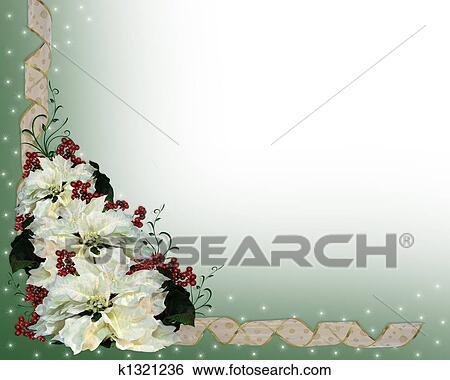 Christmas White Poinsettia Backgrou Stock Illustration