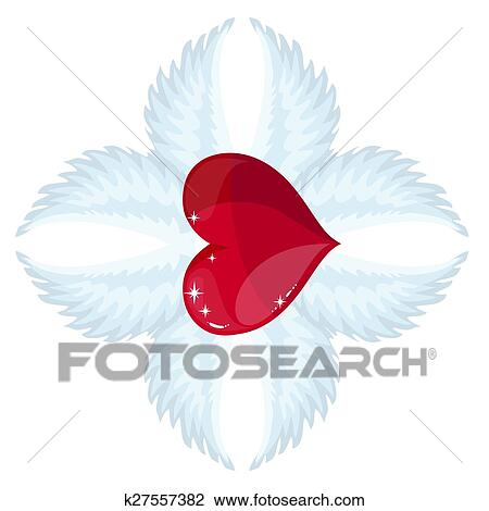 Clipart Of Cross Angel Wings And A Heart In The Middle K27557382
