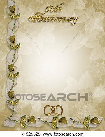 Goldene Hochzeit Einladung Gold Stock Illustration