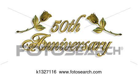 Großartig Bild, Und, Abbildung, Zusammensetzung, Für, 50th, Hochzeitsjubiläum,  Einladung, Oder, Karte
