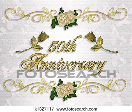 Stock Illustration Goldene Hochzeit Einladung K1327117 Suche