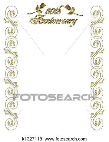 Goldene Hochzeit Einladung Umrandungen Stock Illustration