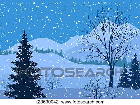 Clipart hiver paysage montagne arbres sapin k23690042 recherchez des cliparts des - Paysage enneige dessin ...