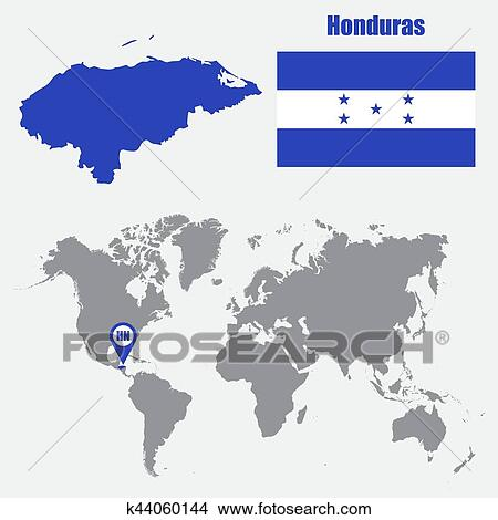 Clipart of Honduras map on a world map with flag and map pointer ...