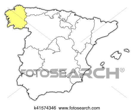 Cartina Spagna Galizia.Mappa Spagna Galizia Archivio Illustrazioni K41574346 Fotosearch