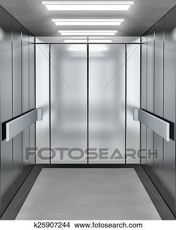 Modern Elevator With Opened Door Drawings K25907244