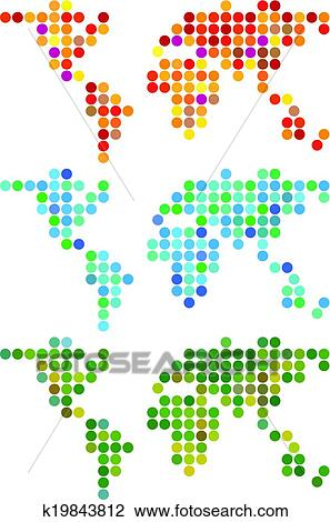 Clipart of abstract dot world map vector set k19843812 search abstract world maps with dot pattern vector setmap source nasa public domain gumiabroncs Image collections