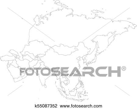 Blank political outline map of Asia continent. Vector ...