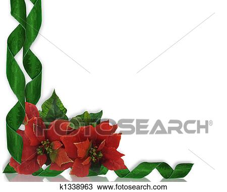 drawing christmas border poinsettias and ri fotosearch search clipart illustration fine