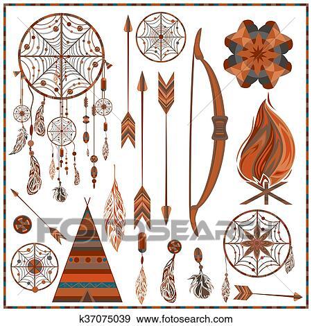 Clip Art - conjunto, aislado, étnico, elementos, flechas, plumas ...