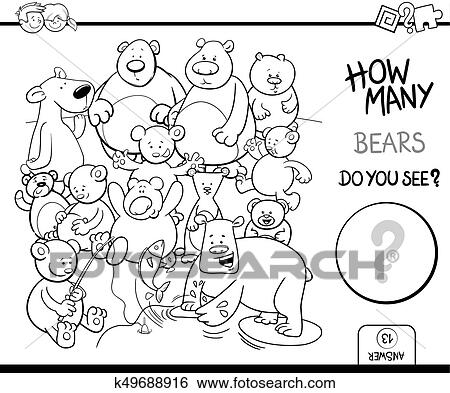 Counting bears coloring book activity Clip Art