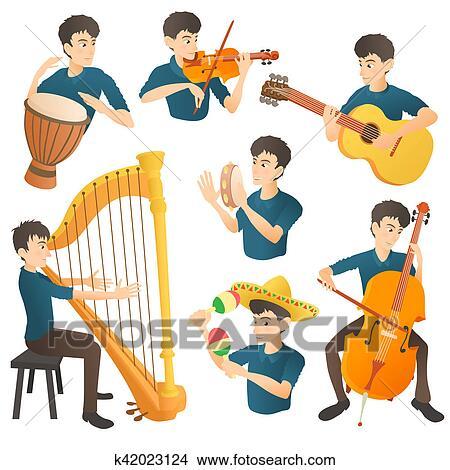 Dessins musicien concept ensemble dessin anim style - Dessin musicien ...