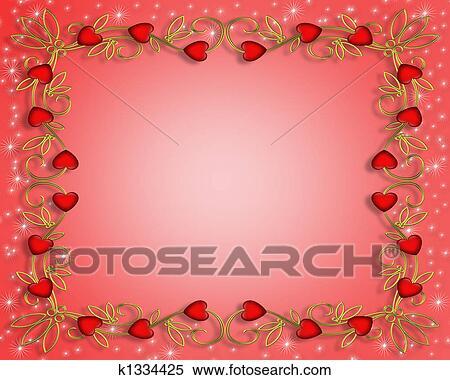 Colección de ilustraciones - valentine, corazones, marco, 3d ...