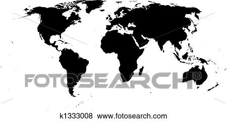 Clip art of vector world map k1333008 search clipart illustration vector world map black on white background gumiabroncs Gallery